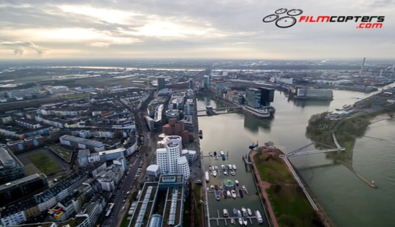 Aerial recording of the sky of Dusseldorf